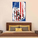 Cat Usa Flag Wall Art Vertical Poster Canvas