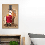 Time To Drink Beer Bulldog Wall Art Vertical Poster Canvas