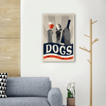 Dogs And Wine Wall Art Vertical Poster Canvas