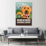 Go Camping Golden Retriever Wall Art Vertical Poster Canvas