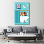 Dachshund Drinking Wine And Taking A Bath Wall Art Vertical Poster Canvas