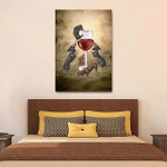 Dachshund Drink Wine Wall Art Vertical Poster Canvas