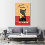 Cat Pizza Shop Wall Art Vertical Poster Canvas