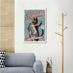 Karaoke Party Cat Holding A Microphone Wall Art Vertical Poster Canvas