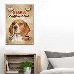 Beagle Coffee Club Wall Art Vertical Poster Canvas