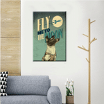 Dog Under The Moon Wall Art Vertical Poster Canvas