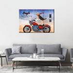 Beagle Riding Motor Wall Art Horizontal Poster Canvas