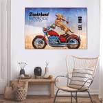 Dachshund Riding Motor Wall Art Horizontal Poster Canvas