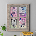 My Mind Still Talks To You And My Heart Still Looks For You But My Soul Knows You Are At Peace Personalized Pet Memorial Gift Wall Art Vertical Poster Canvas