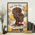 Black Girl God Says You Are Personalized Vertical Poster Canvas