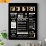 Happy 70th Birthday Gift Back In 1951 Wall Art Vertical Poster Canvas