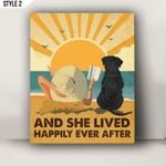 And She Lived Happily Ever After Personalized Dog Breed Horizontal Poster Canvas