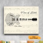 Personalized Song Lyrics Guitar Typography Wall Art Horizontal Poster Canvas
