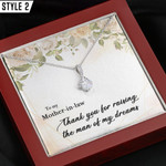 To My Mother In Law Gift From Daughter In Law Necklace With Message Card