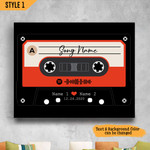 Personalized Song Cassette Tape Spotify Code Wedding Anniversary Gift Wall Art Horizontal Poster Canvas
