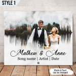 Personalized Song Soundwave First Dance Wedding Anniversary Gift Wall Art Horizontal Poster Canvas
