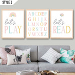 Set Of 3 Let's Read Let's Play Alphabet Playroom Baby Home Decor Poster Wrapped Canvas