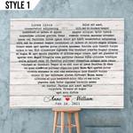 Personalized Song Lyrics Heart Shape Wedding Anniversary Gift Wall Art Horizontal Poster Canvas