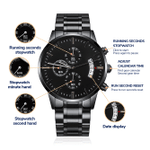 To My Son Never Forget That I Love You Forever Engraved Design Black Chronograph Watch