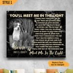 You'll Meet Me In The Light Personalized Dog Memorial Gift Wall Art Horizontal Poster Canvas