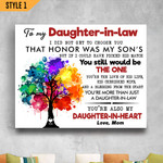 To My Daughter-In-Law Family Tree Wedding Gift From Mother-In-Law Wall Art Horizontal Poster Canvas