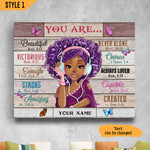 Personalized Purple Black Girl With Headphones You Are Beautiful Wall Art Horizontal Poster Canvas