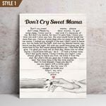 Don't Cry Sweet Mama Typography Heart Shape Dog Memorial Gift Wall Art Vertical Poster Canvas