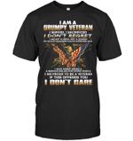I'm A Grumpy Veteran Bald Eagle Cross American Flag T-shirt