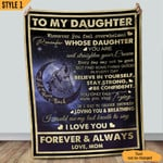 To My Daughter I Love You To The Moon And Back Wolf Sherpa Blanket Fleece Stadium Blanket Mink Blanket