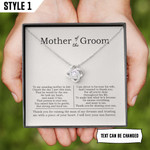 To My Mother Of The Groom Gift From Bride Necklace With Message Card