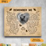Remember Me Typography Butterfly Shape Personalized Dog Memorial Gift Wall Art Horizontal Poster Canvas
