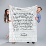 Personalized Handwriting Sherpa Blanket Fleece Stadium Blanket Mink Blanket