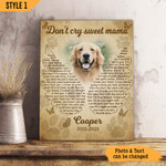 Dog Mom Don't Cry Sweet Mama Angel Wings Dog Memorial Gift Wall Art Vertical Poster Canvas Framed Print