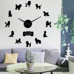 Wall Clock Poodle Big Hand Modern Pudelhund