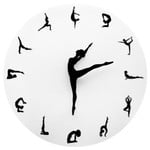Home Decor Yoga Postures Wall Clock GYM Fitness