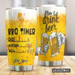 Personalized Beer Time To Drink Beer Stainless Steel Tumbler Perfect Gifts For Beer Lover Tumbler Cups For Coffee/Tea, Great Customized Gifts For Birthday Christmas Thanksgiving