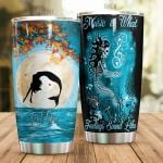 Personalized Mermaid Music is What Feelings Sound Like Stainless Steel Tumbler Perfect Gifts For Mermaid Lover Tumbler Cups For Coffee/Tea, Great Customized Gifts For Birthday Christmas Thanksgiving