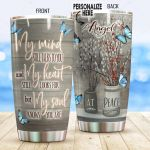 Personalized Butterfly My Mind Still Talks To You Stainless Steel Tumbler Perfect Gifts For Butterfly Lover Tumbler Cups For Coffee/Tea, Great Customized Gifts For Birthday Christmas Thanksgiving