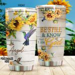 Hummingbird I Am God Sunflower Stainless Steel Tumbler Perfect Gifts For Hummingbird Lover Tumbler Cups For Coffee/Tea, Great Customized Gifts For Birthday Christmas Thanksgiving