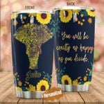 Personalized Elephant As Happy As You Decide Sunflower Stainless Steel Tumbler Perfect Gifts For Elephant Lover Tumbler Cups For Coffee/Tea, Great Customized Gifts For Birthday Christmas Thanksgiving