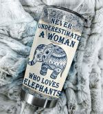 Elephant Pattern A Woman Who Loves Elephants Stainless Steel Tumbler Perfect Gifts For Elephant Lover Tumbler Cups For Coffee/Tea, Great Customized Gifts For Birthday Christmas Thanksgiving