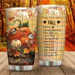 Personalized Pumpkin Things I Love About Fall Stainless Steel Tumbler Perfect Gifts For Pumpkin Lover Tumbler Cups For Coffee/Tea, Great Customized Gifts For Birthday Christmas Thanksgiving