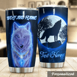 Personalized Wolf And Flame Stainless Steel Tumbler Perfect Gifts For Wolf Lover Tumbler Cups For Coffee/Tea, Great Customized Gifts For Birthday Christmas Thanksgiving
