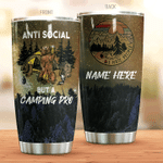 Personalized Camping Anti Social But A Camping Pro Stainless Steel Tumbler Perfect Gifts For Camping Lover Tumbler Cups For Coffee/Tea, Great Customized Gifts For Birthday Christmas Thanksgiving