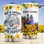 Personalized Farmer Just A Woman Who Loves Her Farmer Stainless Steel Tumbler Perfect Gifts For Farmer Tumbler Cups For Coffee/Tea, Great Customized Gifts For Birthday Christmas Thanksgiving Wedding Valentine's Day