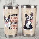 Boston Terrier Dog Someone Runs To Greet You Stainless Steel Tumbler Perfect Gifts For Dog Lover Tumbler Cups For Coffee/Tea, Great Customized Gifts For Birthday Christmas Thanksgiving