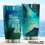 Personalized Mermaid She Dreams Of The Ocean Stainless Steel Tumbler Perfect Gifts For Mermaid Lover Tumbler Cups For Coffee/Tea, Great Customized Gifts For Birthday Christmas Thanksgiving
