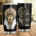 Wolf Listen To The Wind Stainless Steel Tumbler Perfect Gifts For Wolf Lover Tumbler Cups For Coffee/Tea, Great Customized Gifts For Birthday Christmas Thanksgiving