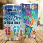 Personalized Born With The Beach In Their Souls Stainless Steel Tumbler Perfect Gifts For Beach Lover Tumbler Cups For Coffee/Tea, Great Customized Gifts For Birthday Christmas Thanksgiving