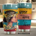 Personalized The Heart Of A Hippie Girl Book Sunflower Stainless Steel Tumbler Perfect Gifts For Hipppie Tumbler Cups For Coffee/Tea, Great Customized Gifts For Birthday Christmas Thanksgiving